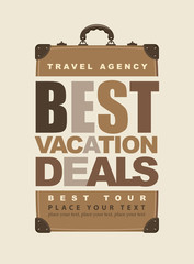poster for travel with the inscription best vacation deals