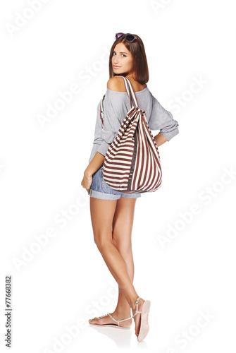 Fototapeta Beautiful girl with summer backpack