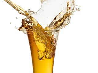 Beer splash with drops