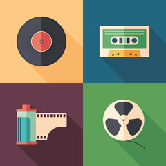 Set of colorful retro flat media icons with long shadows.