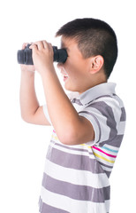 Asian boy holding binoculars, isolated on a white background