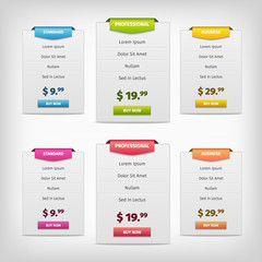 colorful pricing plans conception