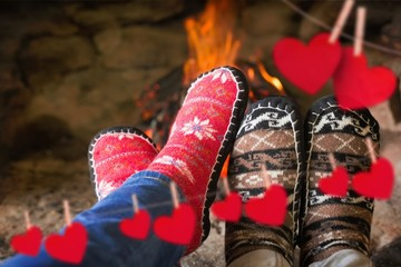 Close up of romantic legs in socks