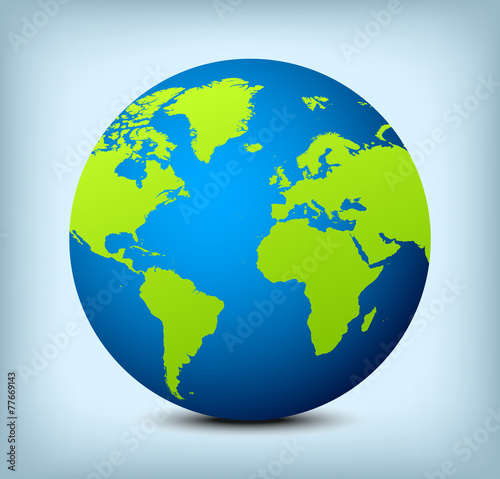 vector blue and green globe icon - 77669143