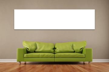 Panorama aus Leinwand an Wand im Wohnzimmer