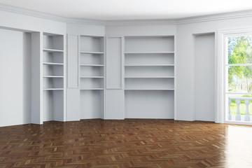 Leeres Zimmer mit Regalen in den Wänden