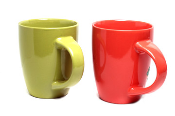 two large colorful cups on a white background