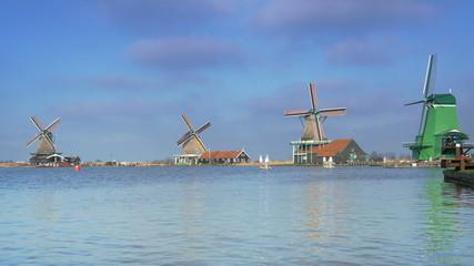 Panorama of dutch windmills in Holland