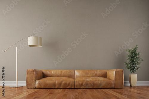 Vintage Sofa vor Wand im Wohnzimmer - 77669966