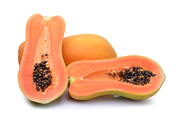 slices Papaya isolated on white background