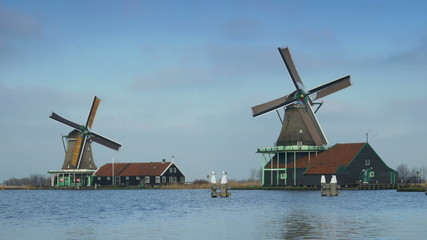 Wooden windmills in Holland