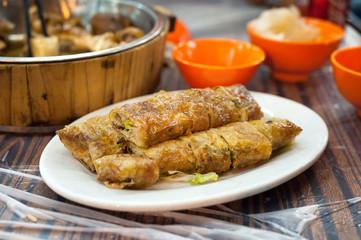 Fried spring roll served at a Hong Kong dai pai dong