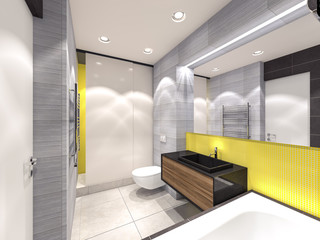 yellow, gray and brown bathroom 3d