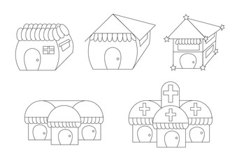 linear cute cartoon houses