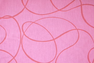 Pink printed fabric with red lines