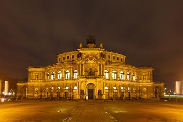 Dresden Opera Theatre at night