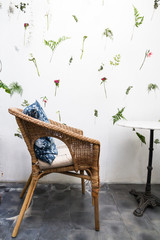 weave chair and flower background