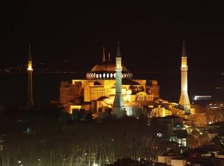 Hagia Sophia night view in Istanbul, Turkey