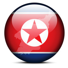 Map on flag button of Democratic People's Republic of Korea, Nor