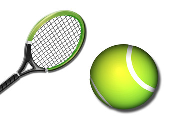 Tenis, pelota, raqueta, fondo blanco, deporte