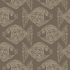 Monochrome fish Seamless Pattern