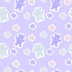 Baby  bear animals seamless Pattern