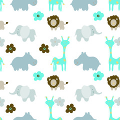 Baby  animals seamless Pattern