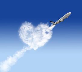heart shape cloud and plane on blue