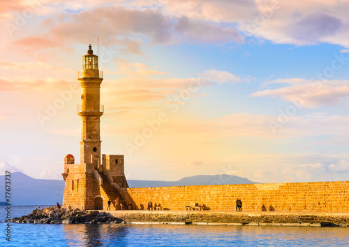 Leinwandbild Motiv Crete island, Chania, Greece.Port of Chania and lighthouse.