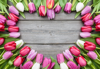 tulips arranged on old wooden background