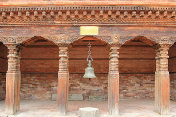 An ancient bell hanging at Patan Museum in Patan, Nepal