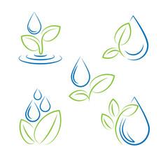 Water drop and leaf symbol vector set