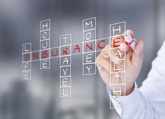 Businessman write life insurance concept