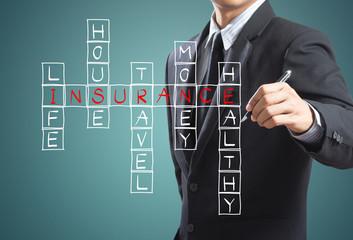Businessman write insurance concept