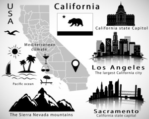 California state vector set: city skylines, icons, map, flag