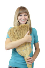 Woman holding a broom.