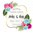 Wedding invitation card with painted flowers - 77675742