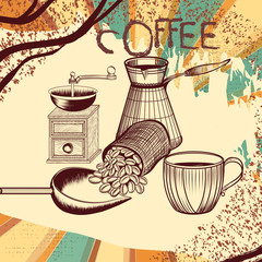 Coffee retro poster with hand drawn coffee mill, mug and coffee