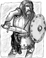 warrior with sword and shield