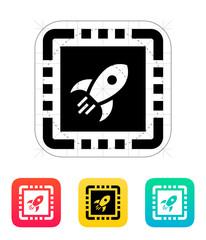 Power CPU icon. Vector illustration.