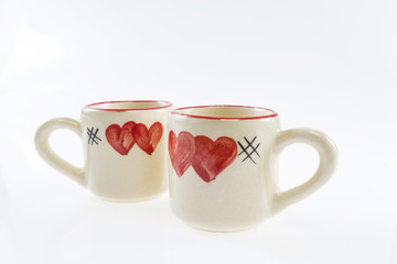 Love cup, with painting heart shaped