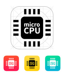 Micro CPU icon. Vector illustration.