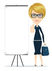 Business woman showing thumbs up, vector illustration
