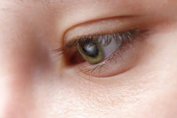macro photo of young girl eye