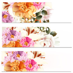 Floral brochures set with flowers