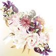 Floral vector background with roses and other flowers