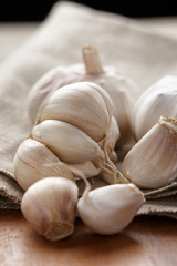 fresh organic garlic on sack cloth