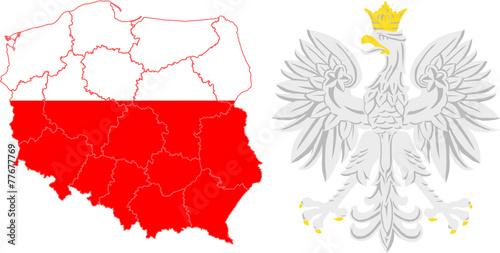województwa i godło Polski