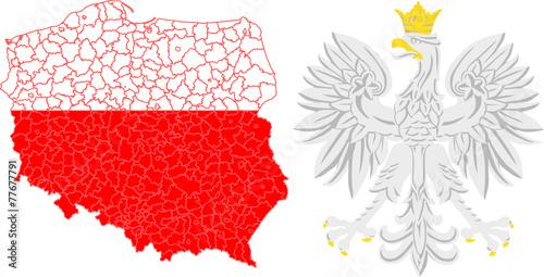 powiaty i godło Polski - 77677791