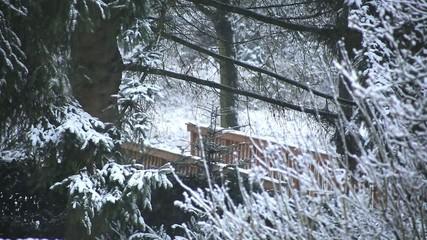 Brücke im Wald mit Schneefall